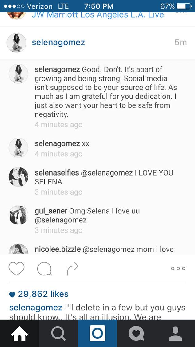 Selena Gomez, Cyberbullying, Instagram