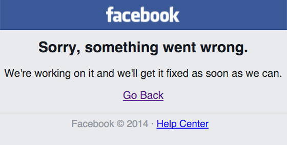 Facebook error message screengrab
