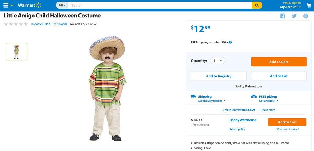 Walmart Little Amigo Costume  sc 1 st  E! News & Walmart Pulls Little Amigo Childu0027s Halloween Costume Off Website: We ...