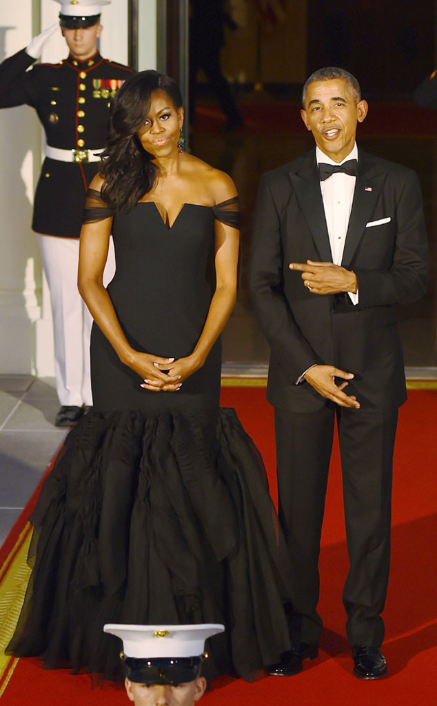 Michelle Obama Wears Vera Wang Gown at White House Dinner