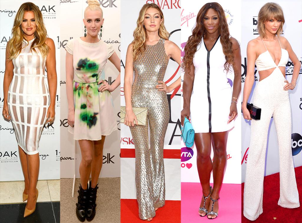 Khloe Kardashian, Ashlee Simpson, Gigi Hadid, Serena Williams, Taylor Swift