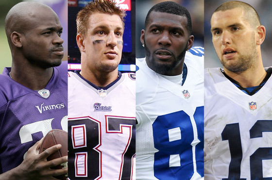 NFL Players, Andrew Luck, Adrian Peterson, Rob Gronkowski, Dez Bryant
