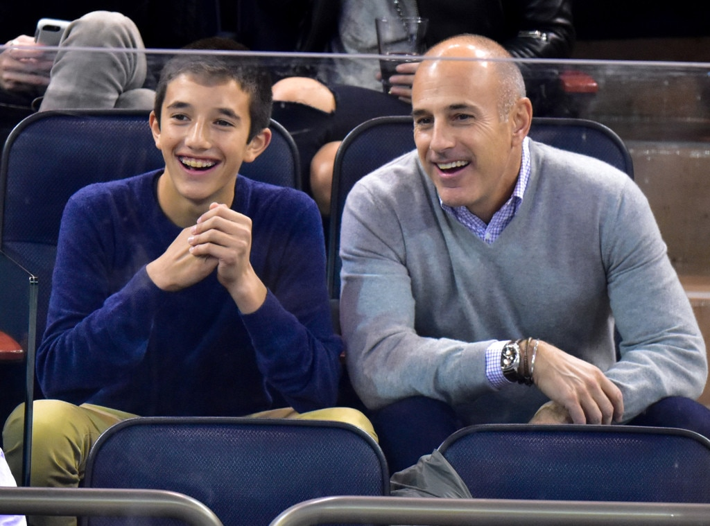 Matt Lauer & Jack Lauer -  The  Today  anchor and his look-alike son cheer the New York Rangers to victory  !