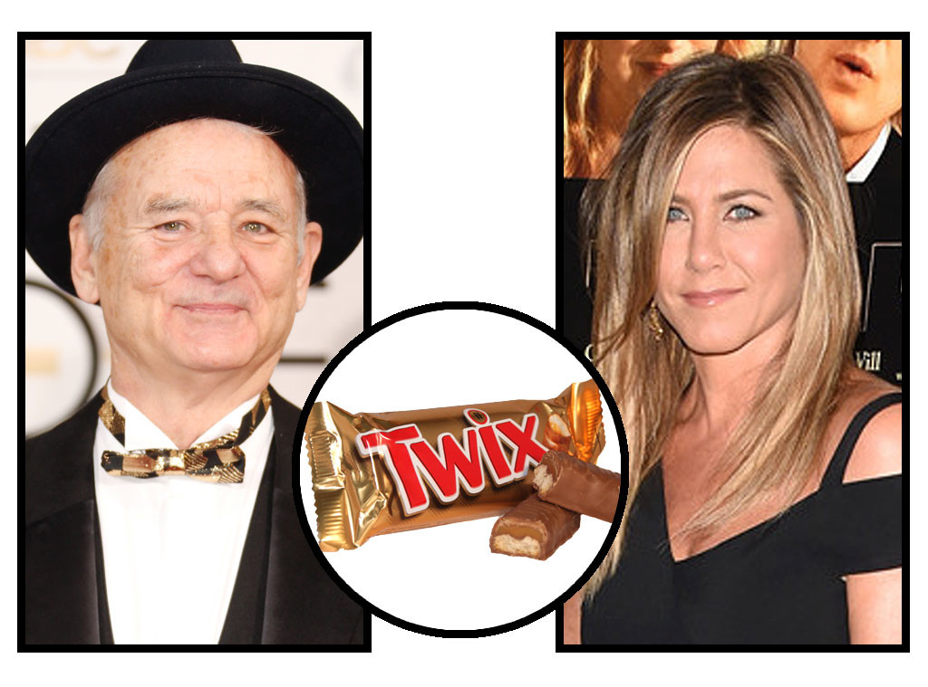 Celebs and Candy, Bill Murray, Jennifer Aniston, Twix