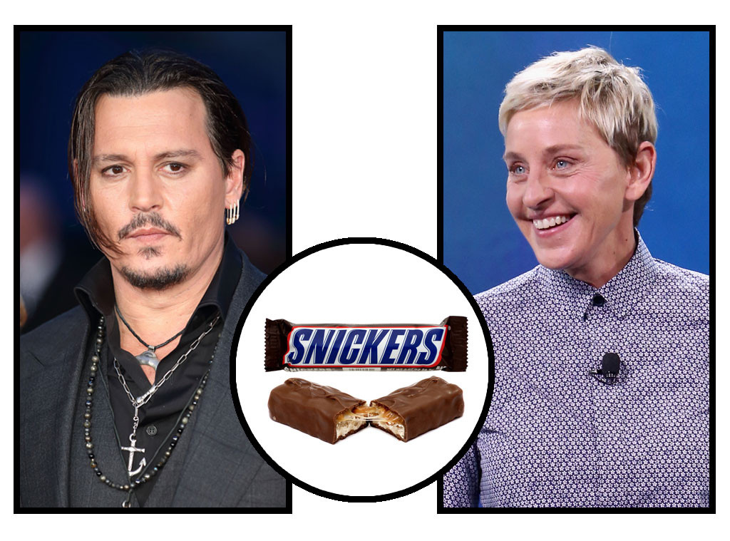 Celebs and Candy, Johnny Depp, Ellen Degeneres, Snickers