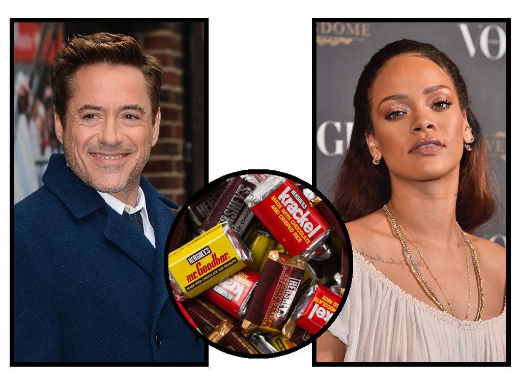 Celebs and Candy, Robert Downey, Jr., Rihanna, Hershey's Miniatures