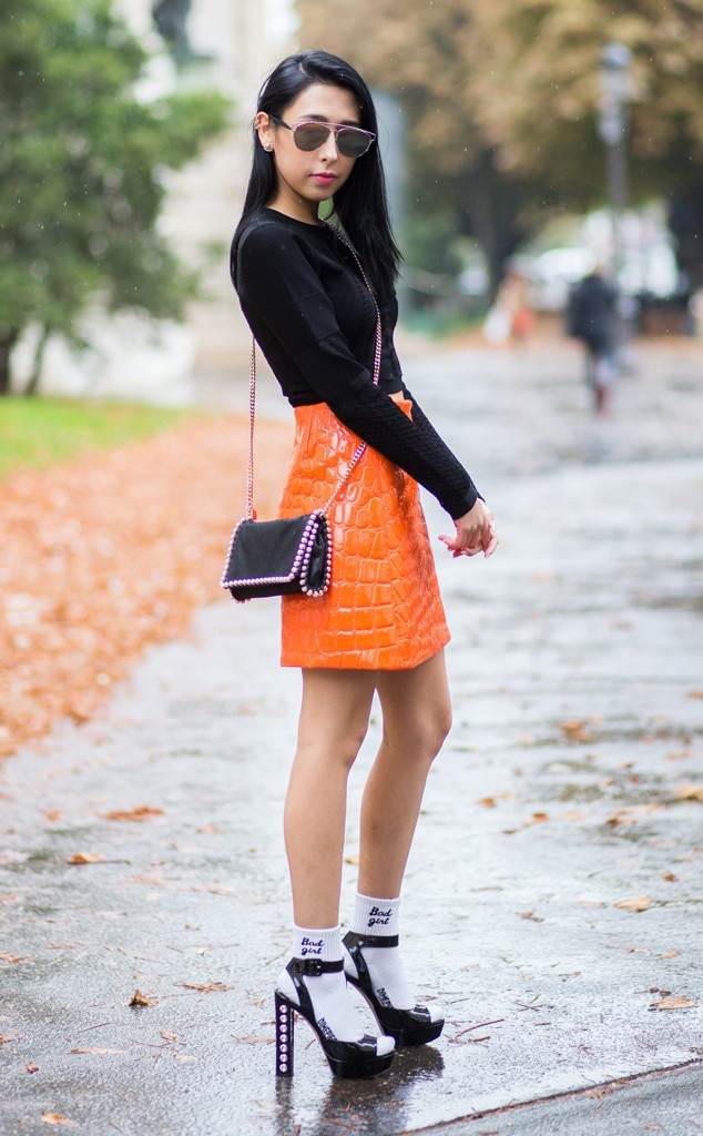 Pumpkin Bottom From Street Style At Paris Fashion Week Spring 2016 E News