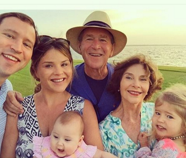 Jenna Bush Hager, Henry Hager, Mila Hager, Poppy Hager, George W. Bush, Laura Bush, New Year's Day 2016