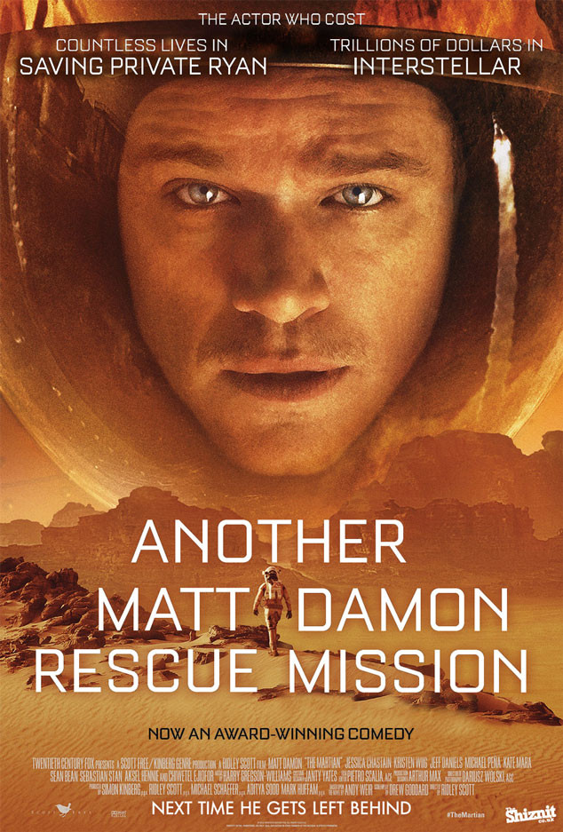 The Martian Fake Movie Poster, Another Matt Damon Rescue Mission