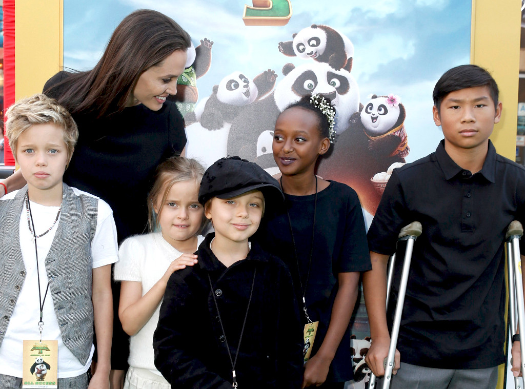Shiloh Nouvel Jolie-Pitt, Angelina Jolie, Vivienne Marcheline Jolie-Pitt, Knox Leon Jolie-Pitt, Zahara Marley Jolie-Pitt, Pax Thien