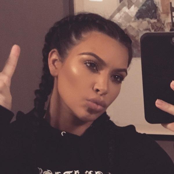Kim Kardashian, Braids, Sweatshirt