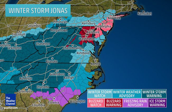 Winter Storm Jonas map