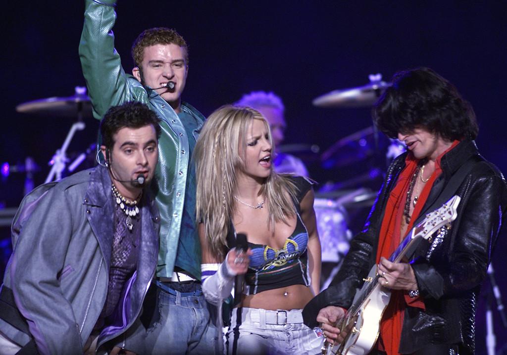 NSYNC, Justin Timberlake, Britney Spears, Joe Perry, Super Bowl 2001