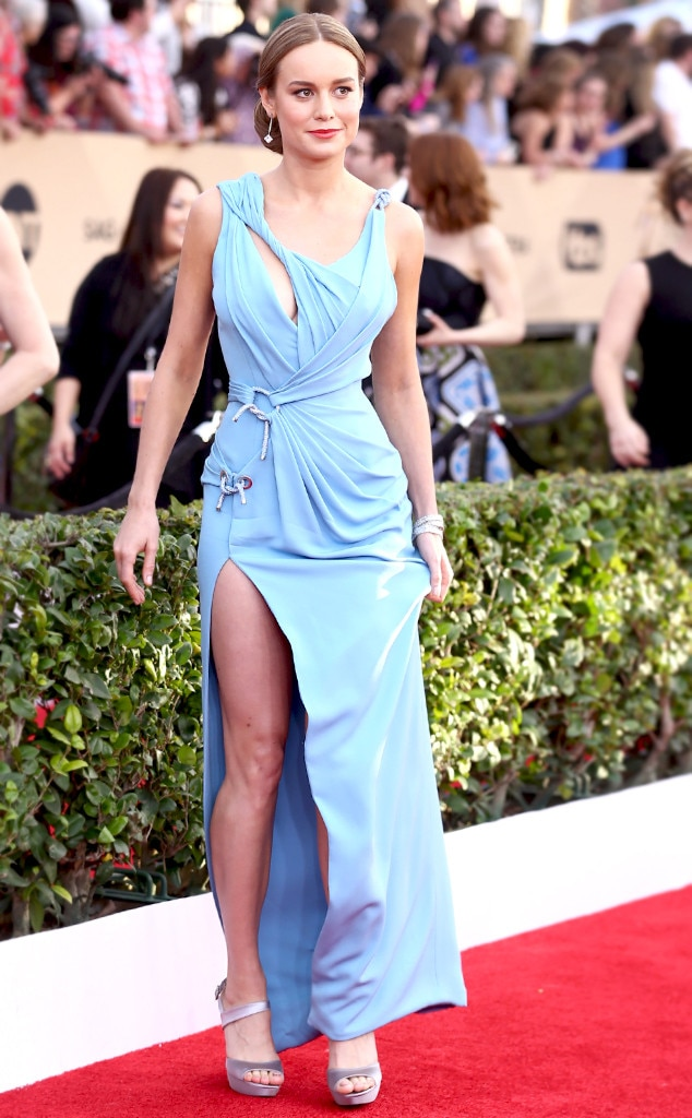 Knotty in Blue -  Brie opted for a daringAtelier Versace gownat the 2016 SAG Awards. Theasymmetrical cutouts and silver knotted waistline cinch work were a pretty stiff bet on her part, but the billowing dress was anything but.