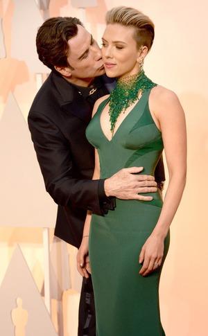 Scarlett Johansson, John Travolta, 2015 Academy Awards, Candids