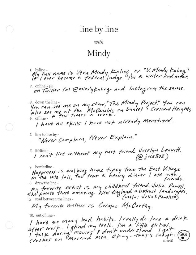 ESC: Mindy Kaling, Line by Line Q&A