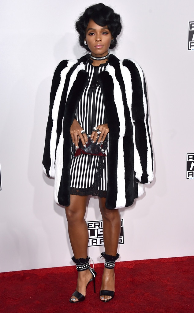 Janelle Monae -  For the 2016 AMAs, Janelle took referee stripes to a whole new level in this classy, '50s inspired AMA look.