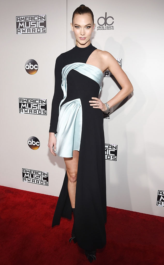 Karlie Kloss -  With two styles combined into one dress, it is hard to tell where the supermodel's dress ends and where it begins at the 2016 AMAs.