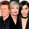 David Bowie, Florence Henderson, Christina Grimmie, Gene Widler, Alan Rickman