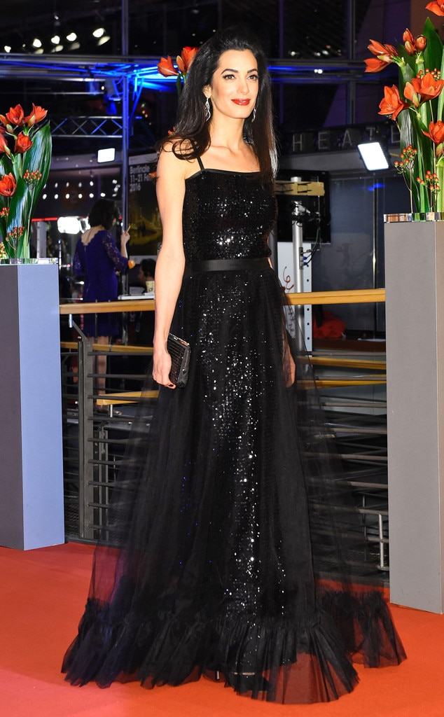 Princess Style -  Amal looked regal in a black, sparkling gown at the premiere of  George Clooney 's film  Hail, Caesar! at the 2016 Berlin International Film Festival.