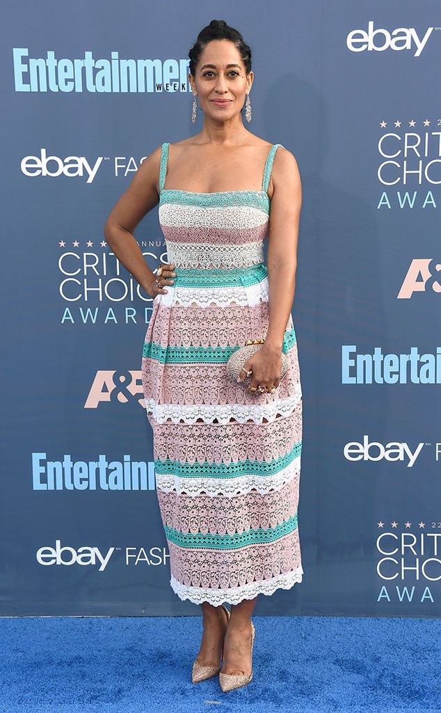 Tasteful Turquoise -  The actress looks fresh and ready for the sun in this lacy Zuhair Murad dress at the 2017 Critics' Choice Awards.