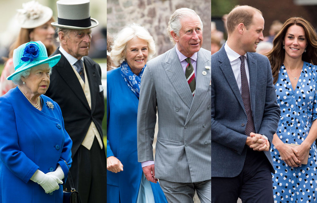 Queen Elizabeth, Prince Philip, Camilla, Prince Charles, Prince William, Kate Middleton