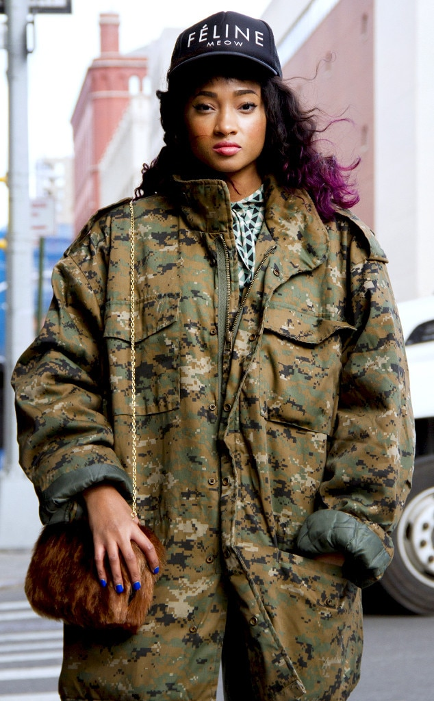 Camo Lady From Street Style At New York Fashion Week Fall 2016 E News Canada