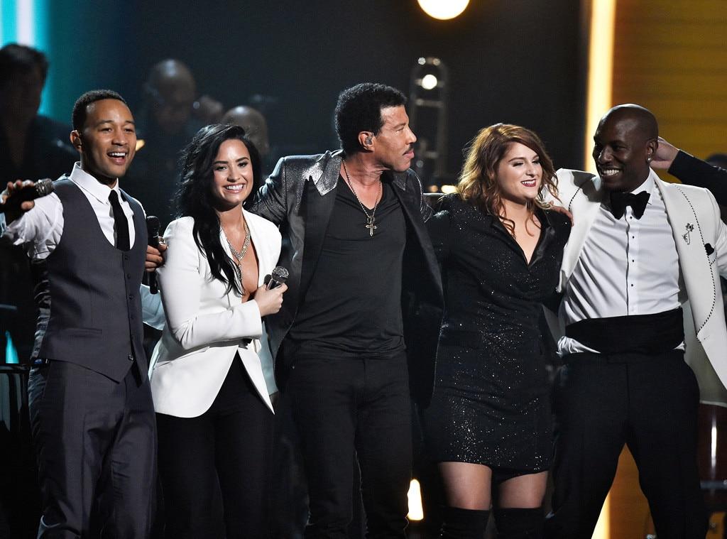 John Legend, Demi Lovato, Lionel Richie, Meghan Trainor, Tyrese Gibson, 2016 Grammy Awards, Show