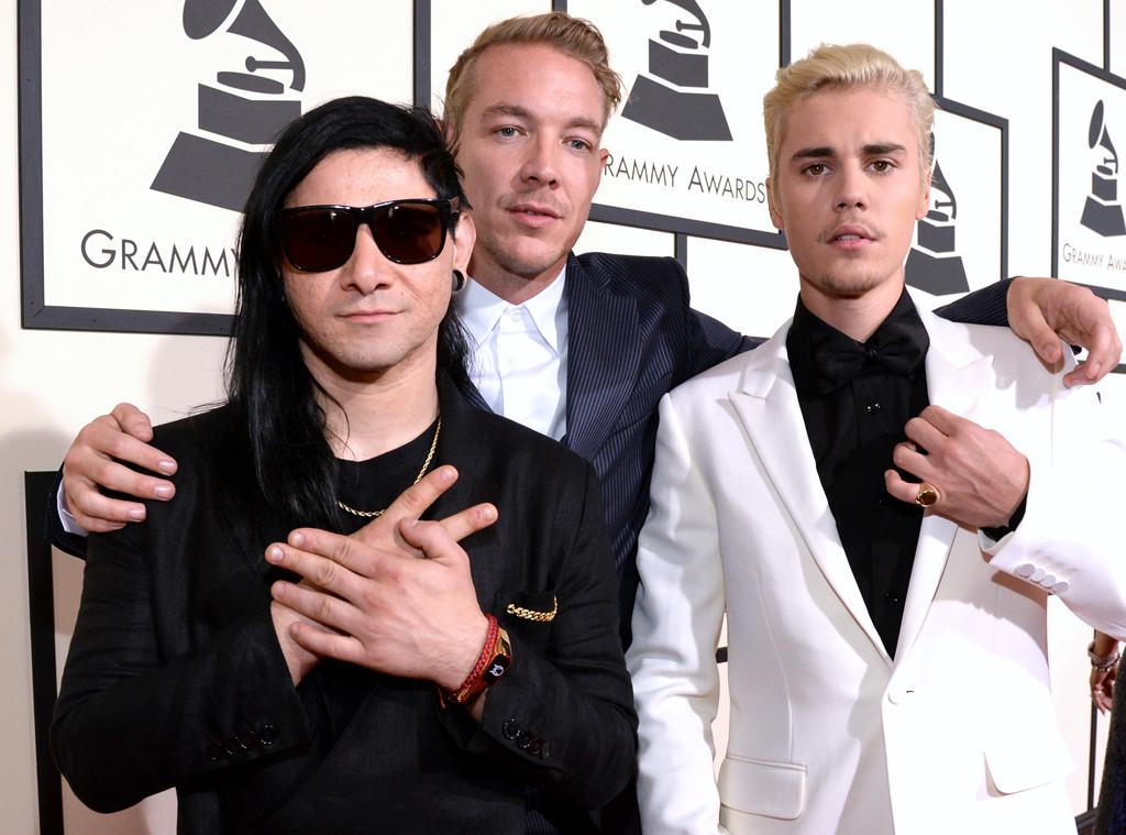 Skrillex, Diplo, Justin Bieber, 2016 Grammy Awards, Candids