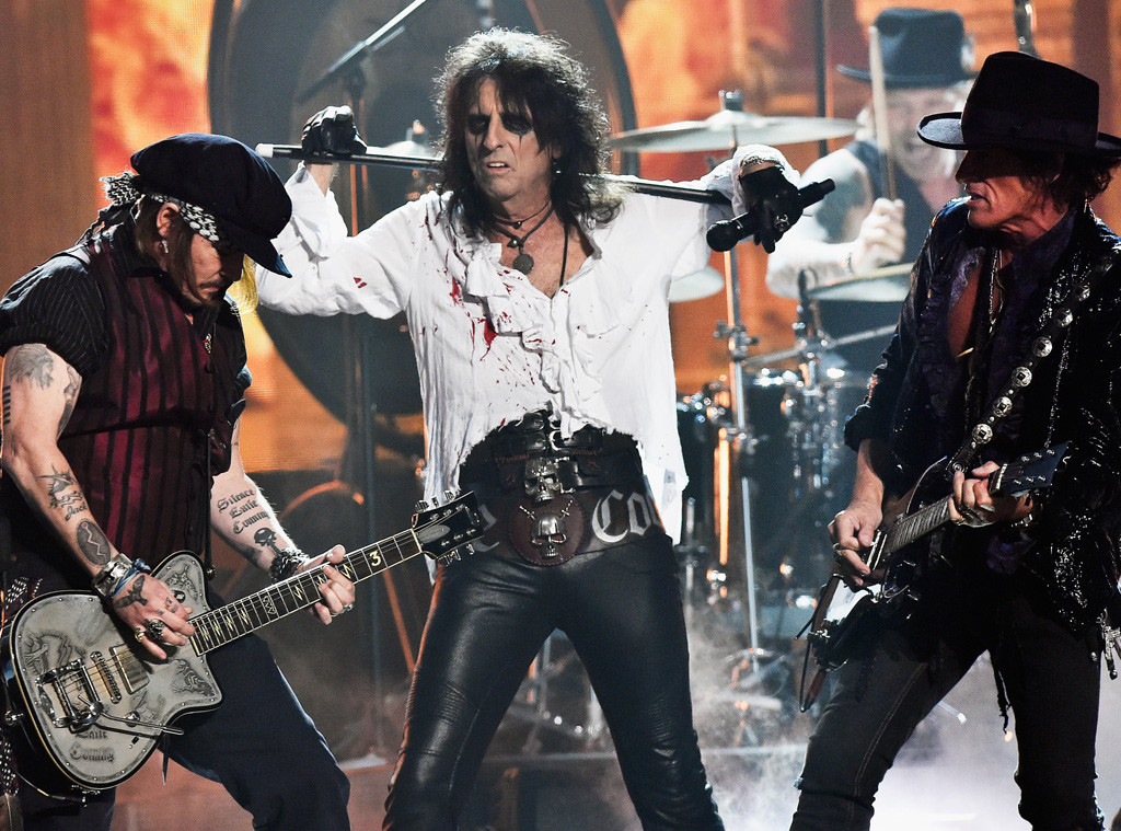Johnny Depp, Alice Cooper, Joe Perry, Hollywood Vampires, 2016 Grammy Awards, Show
