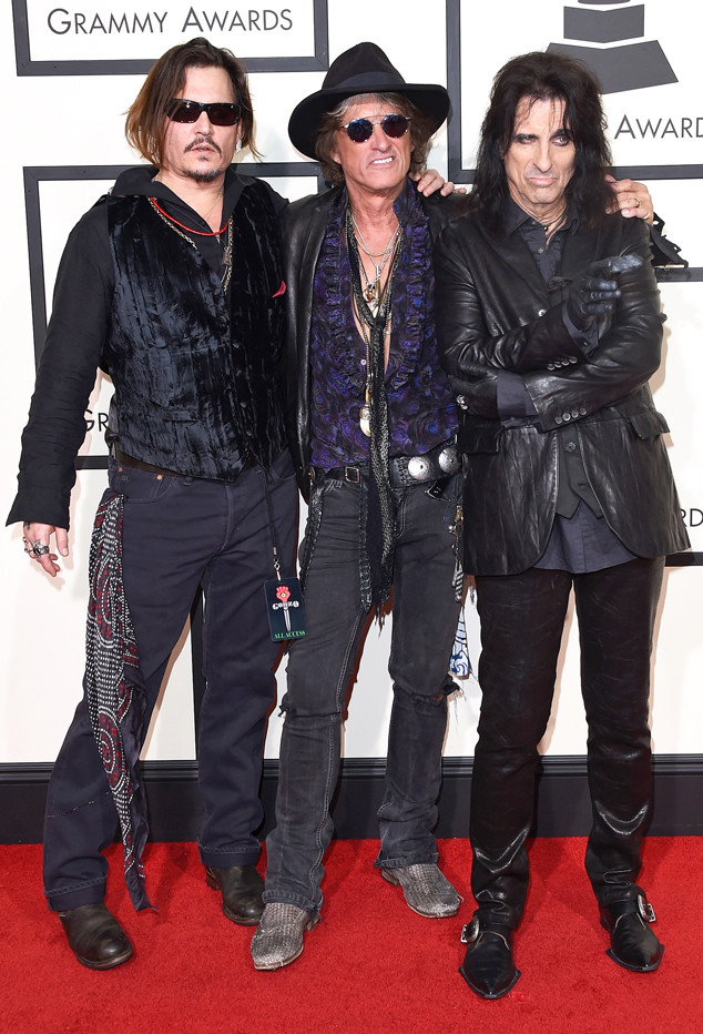 Johnny Depp, Joe Perry, Alice Cooper, 2016 Grammy Awards