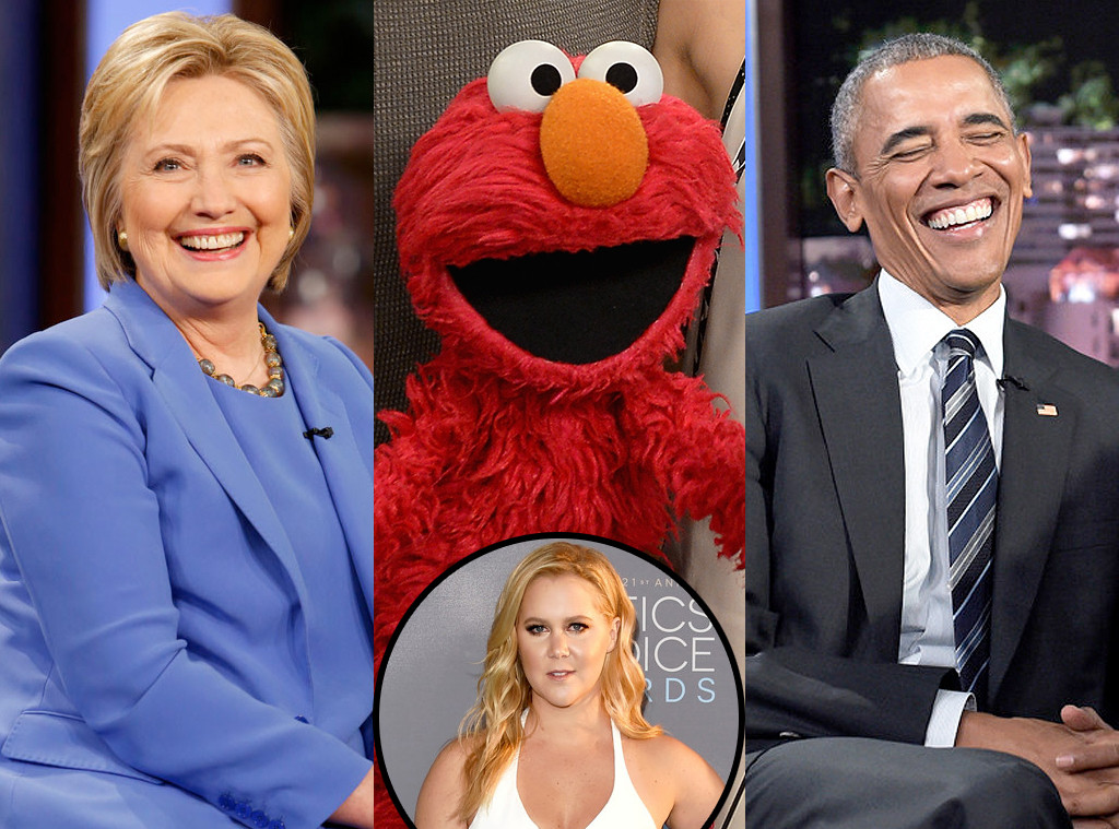 Hillary Clinton, Elmo, Barack Obama, Amy Schumer