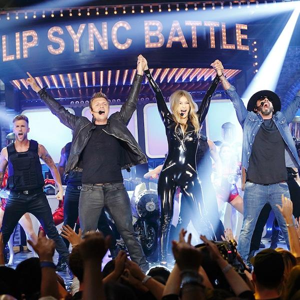 Lip Sync Battle Gigi Hadid Sweater Blue: Nick Carter, Gigi Hadid & A.J. McLean From Lip Sync Battle