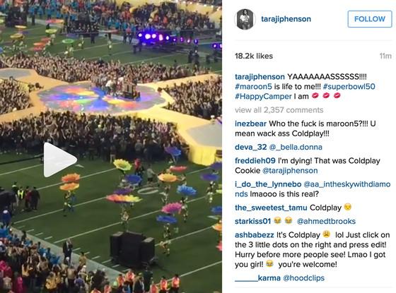 Taraji P Henson, Instagram caption, Coldplay, Super Bowl 2016