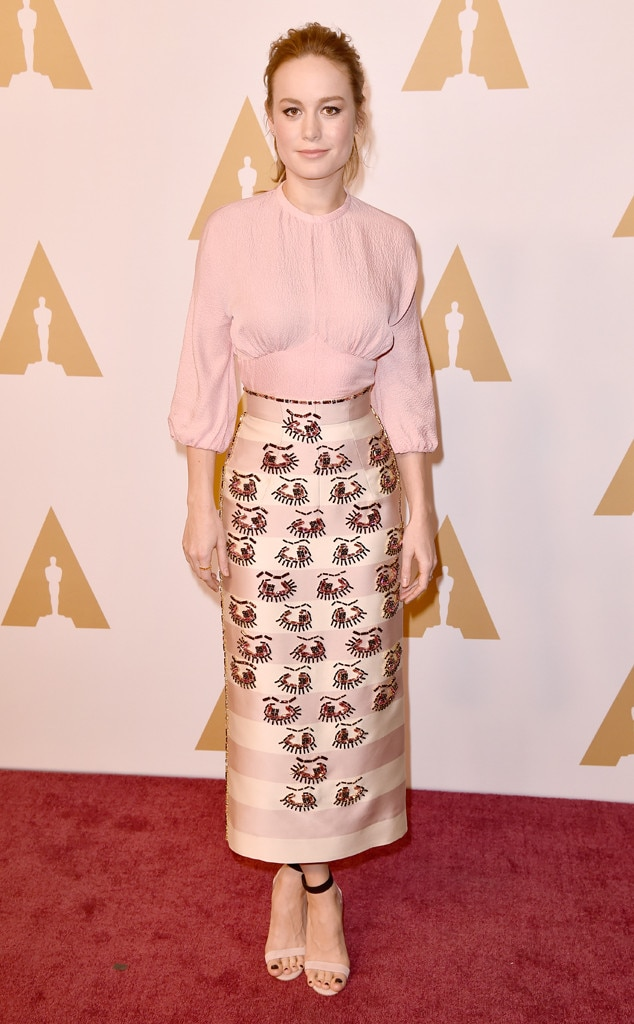 Eyes on the Prize -  All eyes on Brie's (admittedly odd yet peculiarly stunning) skirt! Brie looked awfully pretty in this pink Emilia Wickstead two pieceat the 2016 Academy Awards nominee luncheon.