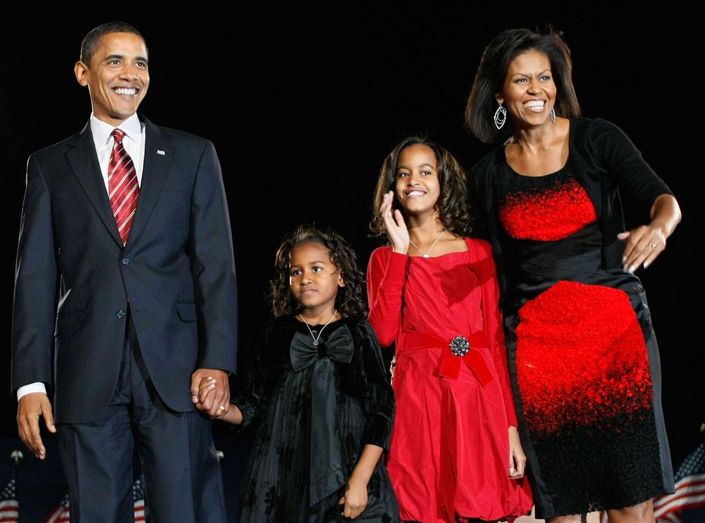 President Barack Obama, Sasha, Malia, 2008