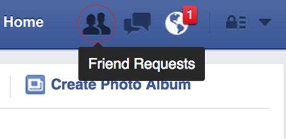 Facebook sent requests screengrabs