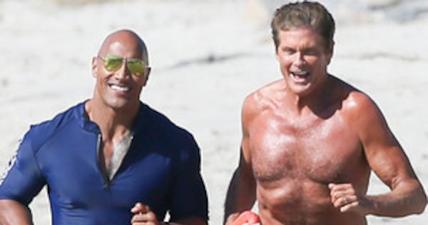 david hasselhoff films baywatch movie with dwayne the rock johnson e news. Black Bedroom Furniture Sets. Home Design Ideas