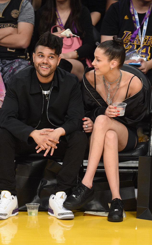 The Weeknd, Bella Hadid, Laker Game
