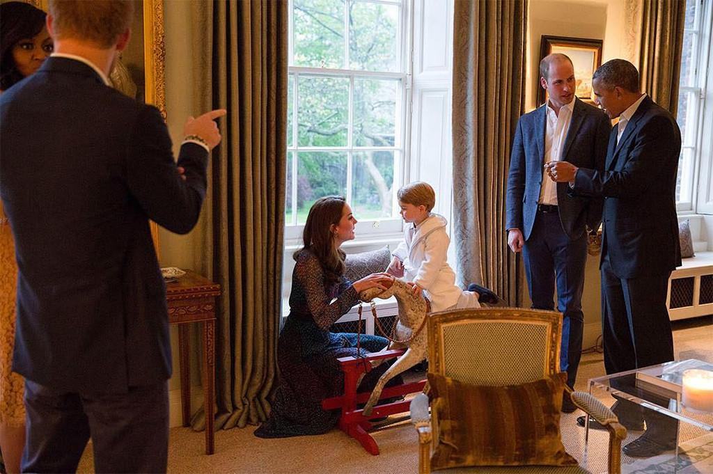 President Barack Obama, Michelle Obama, Kate Middleton, Prince William, Prince George, Prince Harry