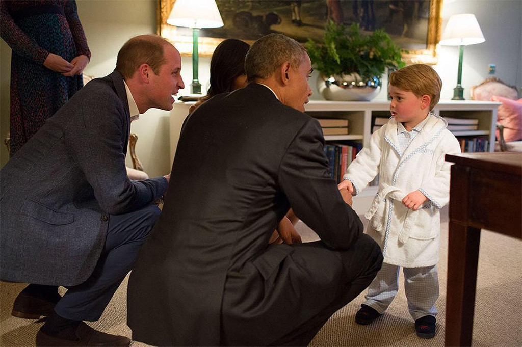 President Barack Obama, Michelle Obama, Prince William, Kate Middleton, Prince George