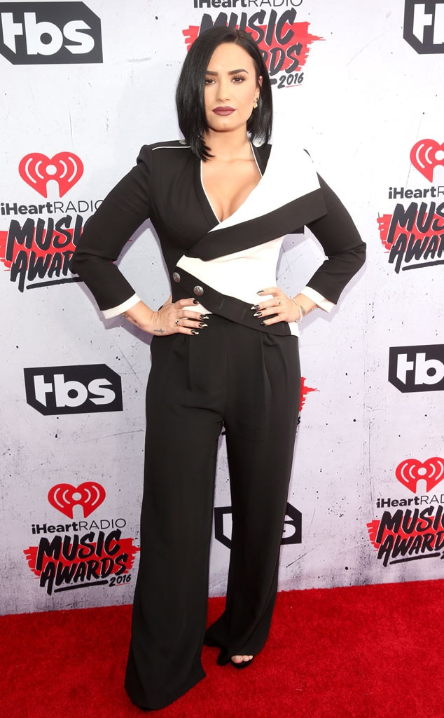 "Demi Lovato -  The ""Sorry Not Sorry"" songstress makes a case for a color-blocking suit with her Alexander McQueen outfit."