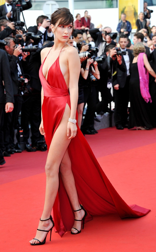Bella Hadid -  The 22-year-old supermodel exudes old-Hollywood glam in this fiery red Alexandre Vauthier gown at the 2016 Cannes Film Festival.