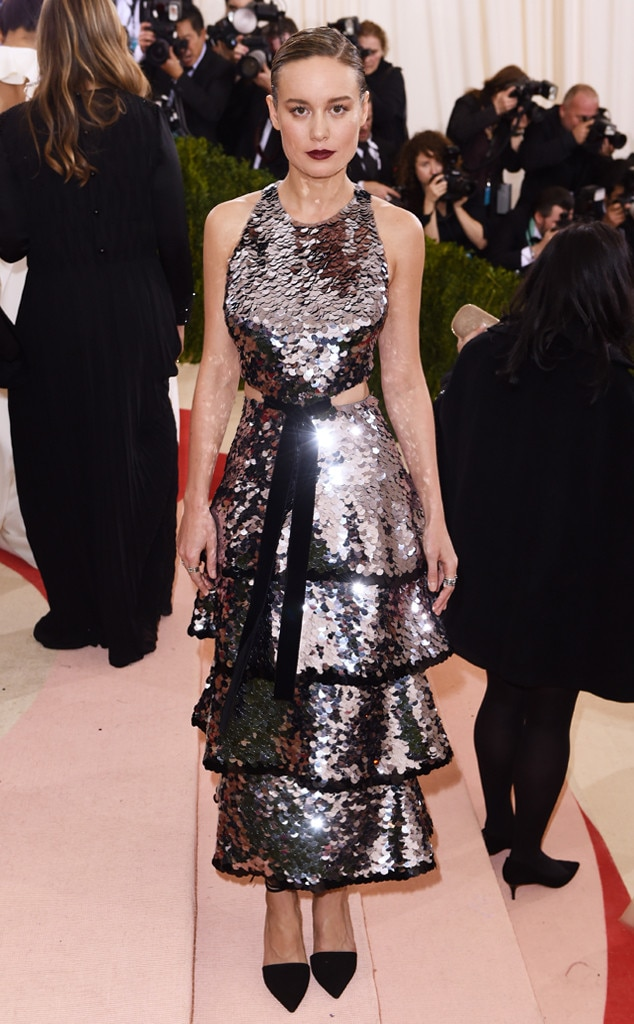 Silver Surfer -  Brie channeled futuristic vibes in this sequined tiered Proenza Schouler dress at the 2016 Met Gala.