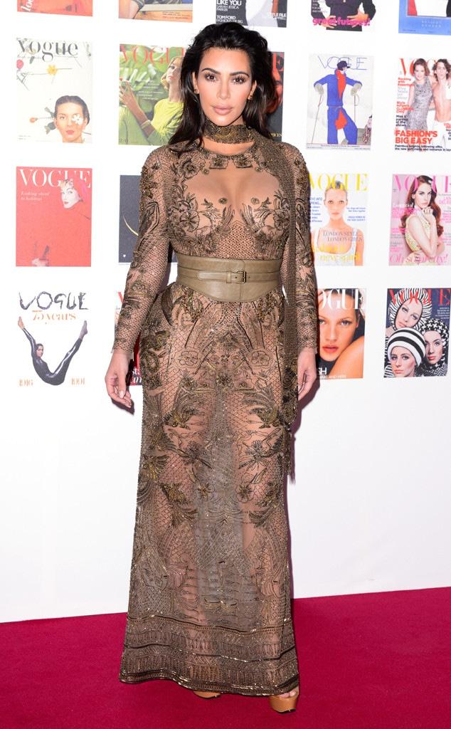 Kim Kardashian Goes Sheer in Naked Dress at Vogues 100