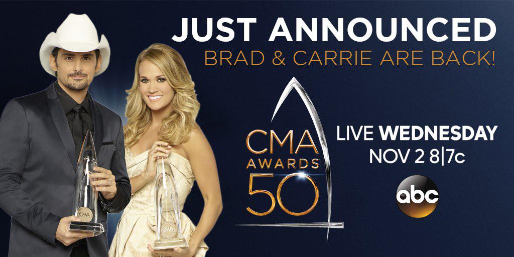 Carrie Underwood, Brad Paisley, CMA Awards 2016