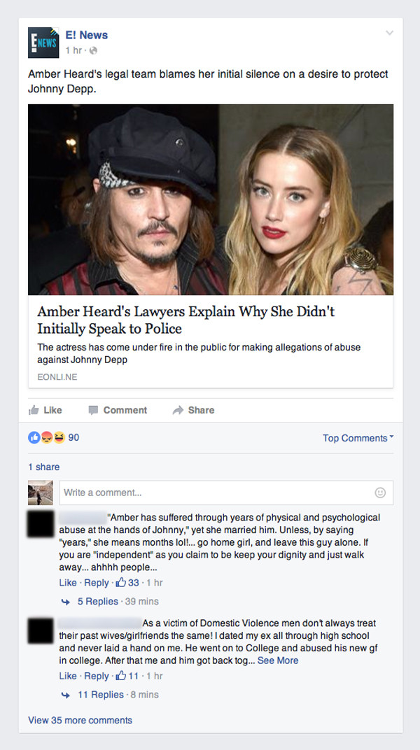 Johnny Depp, Amber Heard, Facebook Grab