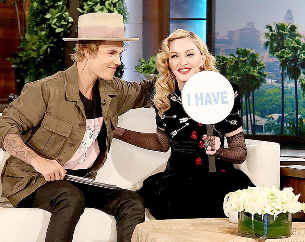 Justin Bieber, Madonna, Ellen Show, Never Have I Ever