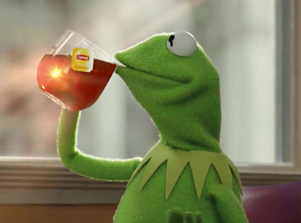 Kermit sipping tea