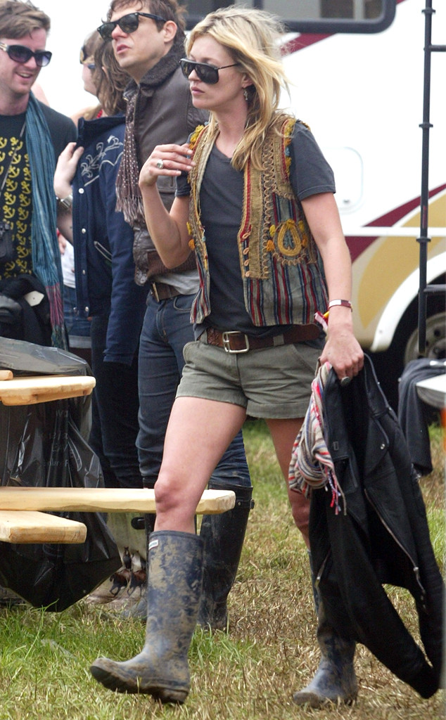 Historical Look Back at Celebs in Wellies at Glastonbury Festival, Kate Moss